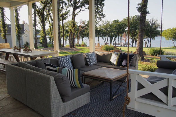 lake house porch with water view