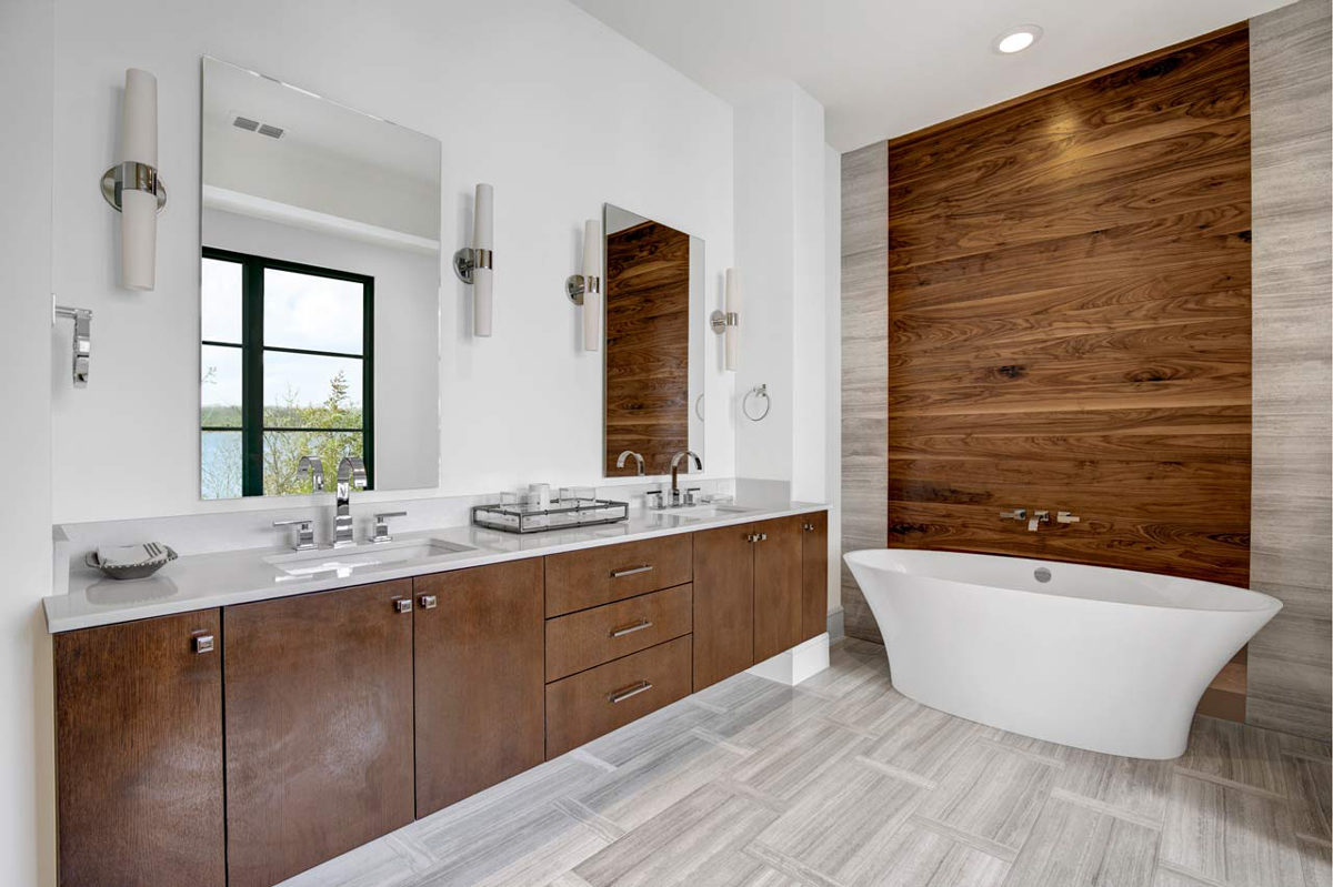 Custom bathroom of a lake home at long cove