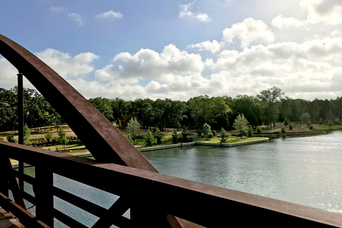 View from the bridge overlooking cedar creek lake