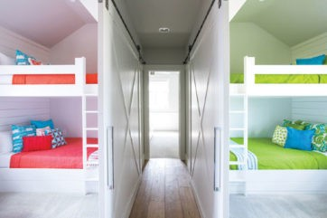 side by side bunk beds in a newly built lake home at cedar creek